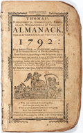 Books:Americana & American History, [Almanac]. Isaiah Thomas. Thomas's Massachusetts, Connecticut,Rhode Island, New Hampshire and Vermont Almanack, 1792...