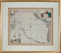 Books:Maps & Atlases, [Maps Showing California as an Island]. Joannes Jansson. Mar delZur. Hispanis. Mare Pacificum. [Amsterdam, circ...