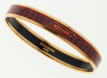 Luxury Accessories:Accessories, Hermes 65mm Red & Gold Enamel Bangle Bracelet with GoldHardware . ...