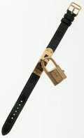 Luxury Accessories:Accessories, Hermes Gold Plated Kelly Watch with Emerald Crocodile Strap . ...