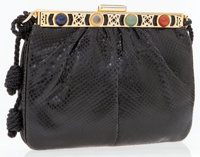 Judith Leiber Black Lizard Shoulder Bag with Stones