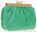 Luxury Accessories:Accessories, Judith Leiber Green Snakeskin Clutch Bag with Cabochon Closure ....