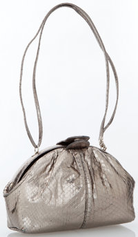 Judith Leiber Metallic Silver Snakeskin Clutch Bag with Shoulder Strap