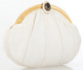 Luxury Accessories:Accessories, Judith Leiber White Snake Clutch Bag with Cameo Detail. ...