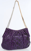 Luxury Accessories:Accessories, Judith Leiber Purple Snake Shoulder Bag with Gold & SilverHardware. ...