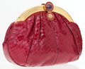 Luxury Accessories:Accessories, Judith Leiber Burgundy Snake Clutch Bag with Cabochon . ...