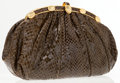 Luxury Accessories:Accessories, Judith Leiber Brown Lizard Clutch with Turtle Detail. ...