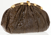 Judith Leiber Brown Lizard Clutch with Turtle Detail