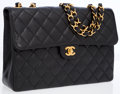 Luxury Accessories:Accessories, Chanel Black Quilted Caviar Leather Jumbo Flap Bag. ...