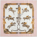 "Luxury Accessories:Accessories, Hermes Pink, Gray & Brown ""Jumping,"" by Philippe Ledoux SilkScarf . ..."