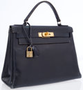 Luxury Accessories:Accessories, Hermes 28cm Indigo Calf Box Leather Kelly with Gold Hardware . ...