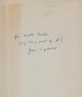 Books:Science & Technology, [John Updike]. A Stress Analysis of a Strapless EveningGown. Prentice-Hall, [1963]. First edition. Inscribed ...