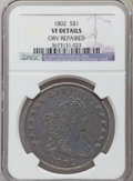 Early Dollars, 1802 $1 Narrow Date -- Obverse Repaired -- NGC Details. VF. B-6,BB-241, R.1....