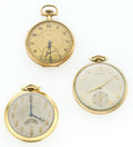 Timepieces:Pocket (post 1900), Three Gold Filled Pocket Watches Including A Hamilton 23 Jewel Series 945. ... (Total: 3 Items)