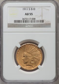 Indian Eagles: , 1911-S $10 AU55 NGC. NGC Census: (64/202). PCGS Population(59/202). Mintage: 51,000. Numismedia Wsl. Price for problem fre...