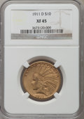 Indian Eagles: , 1911-D $10 XF45 NGC. NGC Census: (87/728). PCGS Population(73/529). Mintage: 30,100. Numismedia Wsl. Price for problem fre...