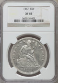 Seated Dollars: , 1847 $1 XF45 NGC. NGC Census: (62/323). PCGS Population (112/326).Mintage: 140,750. Numismedia Wsl. Price for problem free...
