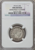 Barber Quarters: , 1914-S 25C -- Improperly Cleaned -- NGC Details. Fine. NGC Census:(14/86). PCGS Population (59/202). Mintage: 264,000. Num...