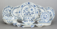 A ONE HUNDRED FIFTY-THREE PIECE MEISSEN BLUE ONION PORCELAIN DINNER SERVICE Meis