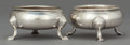 Silver Holloware, British:Holloware, TWO ENGLISH SILVER OPEN SALTS. Maker unknown, London, England, 19thcentury. Marks: (leopard head), (marks effaced). 1-5/8 i... (Total:2 Items)