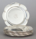 Silver Holloware, American:Plates, A SET OF TWELVE SHREVE & CO. SILVER MONOGRAMMED BREAD PLATES.Shreve & Co., San Francisco, California, circa 1900. Marks:... (Total: 12 Items)