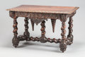 Furniture : French, A CONTINENTAL BAROQUE-STYLE CARVED WOOD CENTER TABLE. 19th century.28 x 45-1/2 x 27 inches (71.1 x 115.6 x 68.6 cm). ...
