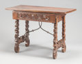 Furniture : Continental, AN ITALIAN RENAISSANCE-STYLE WALNUT TRESTLE TABLE. 17th century.31-3/4 x 45 x 22 inches (80.6 x 114.3 x 55.9 cm). ...