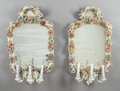 Ceramics & Porcelain, Continental:Antique  (Pre 1900), A PAIR OF GERMAN PORCELAIN THREE-LIGHT GIRANDOLE MIRRORS. 19thcentury. Marks: (crown over S in underglaze blue). 32 inches ...(Total: 2 Items)