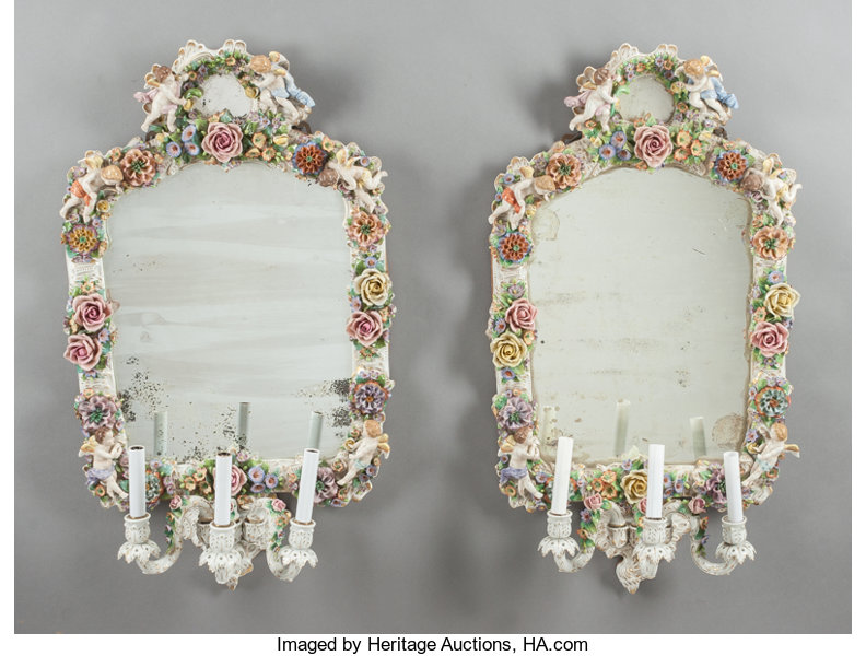A PAIR OF GERMAN PORCELAIN THREE-LIGHT GIRANDOLE MIRRORS  19th | Lot