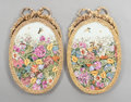 Ceramics & Porcelain, A PAIR OF FRENCH SÈVRES-STYLE OVAL PORCELAIN GILT BRONZE MOUNTED PLAQUES . Early 20th century. Marks: (pseudo Sèvres marks)... (Total: 2 Items)