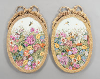 A PAIR OF FRENCH SÈVRES-STYLE OVAL PORCELAIN GILT BRONZE MOUNTED PLAQUES Early 20th century Marks: (pseudo S&egra...