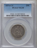 Seated Quarters: , 1876-CC 25C VG10 PCGS. PCGS Population (17/419). NGC Census:(7/297). Mintage: 4,944,000. Numismedia Wsl. Price for problem...