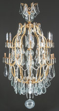 Decorative Arts, French:Lamps & Lighting, A LOUIS XVI-STYLE GILT BRONZE AND CUT GLASS SIXTEEN-LIGHTCHANDELIER. 20th century. 70 inches high x 39 inches wide (177.8x...