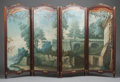 Furniture : French, A FRENCH MAHOGANY AND PARCEL GILT FOUR-PANEL PAINTED LANDSCAPESCREEN . Circa 1900. 67 inches high x 88 inches wide (170.2 x...