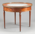 Furniture : French, A FRENCH MAHOGANY BOUILLIOTTE TABLE WITH MARBLE INSET CENTER. 19thcentury. 29-1/2 inches high x 35-1/2 inches diameter (74....