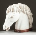 Decorative Arts, Continental:Other , AN ITALIAN CARVED MARBLE HORSE HEAD ON WOOD BASE . 20th century. 24inches high (61.0 cm). ...