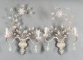 Decorative Arts, French:Lamps & Lighting, A PAIR OF FRENCH BAGUES-STYLE ROCK CRYSTAL AND ROSE QUARTZTWO-LIGHT WALL SCONCES. First half 20th century. 26 x 18 x 4-1/2... (Total: 2 Items)