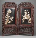 Asian:Japanese, A JAPANESE CARVED TEAK AND IVORY EMBELLISHED TWO-PANEL SCREEN .20th century. 72 inches high x 34 inches wide (182.9 x 86.4 ...