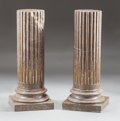 Decorative Arts, Continental:Other , A PAIR OF LOUIS XVI-STYLE GILT BRONZE MOUNTED BISECTED MARBLE IONICCOLUMNS. Early 20th century. 40 inches high (101.6 cm). ... (Total:2 Items)