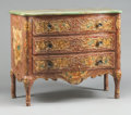 Furniture : Continental, AN ITALIAN LOUIS XV-STYLE PAINTED COMMODE WITH FAUX MARBLE TOP.19th century. 38-1/2 x 48 x 22-1/4 inches (97.8 x 121.9 x 56...