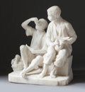 Decorative Arts, Continental, AN ITALIAN CARVED ALABASTER FIGURAL GROUP AFTER MURILLO: GRAPEAND MELON EATERS. Early 20th century. 21 x 16-1/2 x 1...