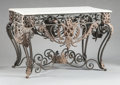 Furniture : Continental, A SPANISH PAINTED WROUGHT IRON GARDEN TABLE WITH MARBLE TOP. 20thcentury. 34-1/4 x 55 x 36-1/2 inches (87.0 x 139.7 x 92.7 ...(Total: 2 Items)
