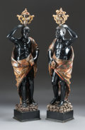 Decorative Arts, Continental:Other , A PAIR OF ITALIAN POLYCHROMED CARVED WOOD BLACKAMOORS. 19thcentury. 77 inches high (195.6 cm) (taller). ... (Total: 2 Items)