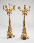 Lighting:Candelabra, A PAIR OF LOUIS XVI-STYLE GILT BRONZE BRONZE SEVEN-LIGHT CANDELABRA . 19th century. 30-1/2 inches high x 13 inches wide (77.... (Total: 2 Items)