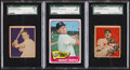 Baseball Cards:Lots, 1949 - 1965 Topps & Bowman Baseball HoFers SGC Graded Trio (3)....