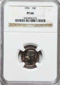 Proof Roosevelt Dimes: , 1951 10C PR66 NGC. NGC Census: (277/697). PCGS Population(682/435). Mintage: 57,500. Numismedia Wsl. Price for problemfre...