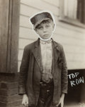 Photographs:20th Century, LEWIS WICKES HINE (American, 1874-1940). Untitled (Boy),circa 1915. Vintage gelatin silver. 4-1/2 x 3-5/8 inches (11.4 ...