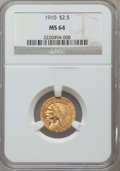 Indian Quarter Eagles: , 1910 $2 1/2 MS64 NGC. NGC Census: (781/181). PCGS Population(374/105). Mintage: 492,000. Numismedia Wsl. Price for problem...