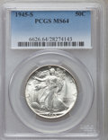 Walking Liberty Half Dollars: , 1945-S 50C MS64 PCGS. PCGS Population (4592/4576). NGC Census:(2800/3368). Mintage: 10,156,000. Numismedia Wsl. Price for ...