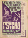 """Movie Posters:Hitchcock, Psycho (Paramount, R-1965). Poster (30"""" X 40""""). Hitchcock.. ..."""
